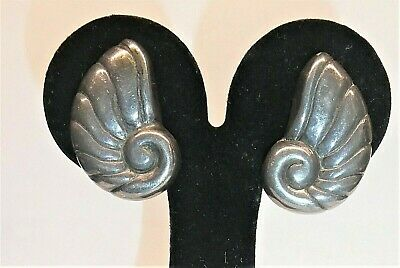 TAXCO WILLIAM SPRATLING Mexico Sterling Silver Earrings Nautilus SHELL 1940s Vtg
