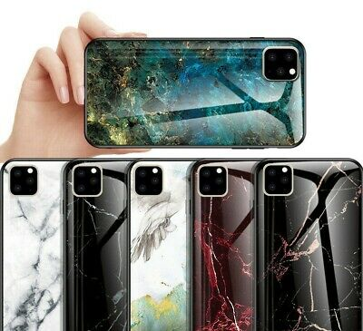 For iPhone 11 Pro Max Luxury Marble Tempered Glass Back Cover Case