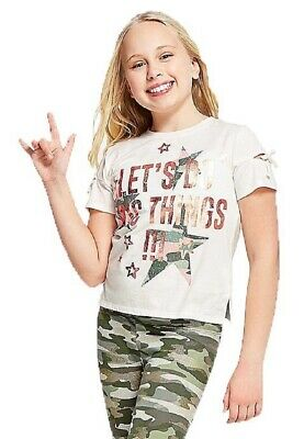 NWT Justice Size 6/7 Girls Let's Do Epic Things Foil Slit Sleeve Tee Shirt Top