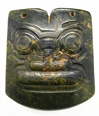 Hongshan culture Magnetic jade stone carved Person's face jade pendant A3