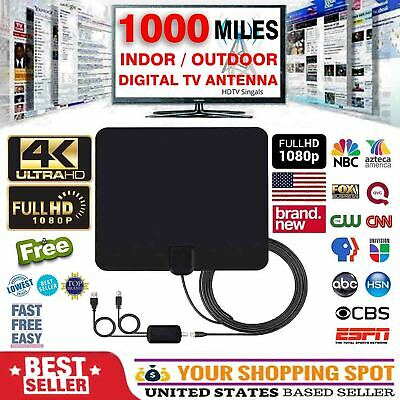 1000 miles TV Antenna Indoor Outdoor HDTV Free HD Digital Channels 13tf 4K 1080P