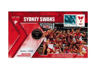2012 $1 AFL Premiers Sydney Swans Coin & Stamp Cover PNC