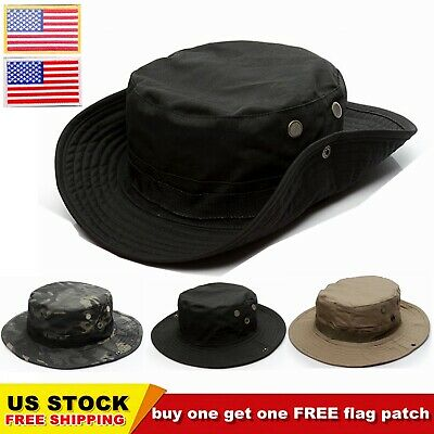Wide Brim Tactical Boonie Hat Military Bucket Hiking Fishing Booney Sun Cap CHIC