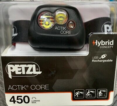 PETZL ACTIK CORE E099GA01 - 450 LUMEN RECHARGEABLE HEADLAMP COMPACT Black/Red