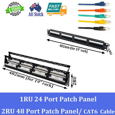 "24 Port 48 Port Patch Panel CAT6 2M 3M 4M 5M 10M Ethernet Cable for 19"" Cabinet"