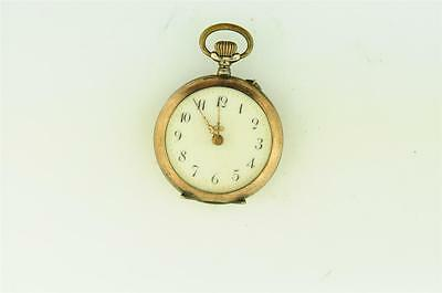 Vintage 31Mm Swiss .800 Two Tone Silver Pocket Watch Fancy Dial Running
