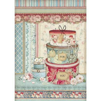 DFSA4397 Packed Hatboxes Stamperia Rice Paper A4 Decoupage Mixed media Scrapbook
