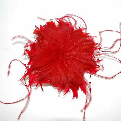 Fascinator Feathers Flower Beads Red Hair Clip Brooch Accessories Buttonhole New