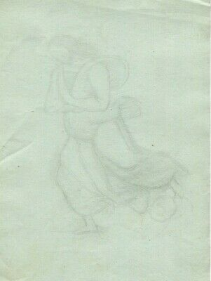 19th Antique Old Pencil Drawing - Dessin Ancien - Religion, Dress, Robe