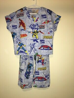 EUC Marvel Kid's Boy's Cherokee Uniform Superhero Comics Scrubs Pajama Set-Med