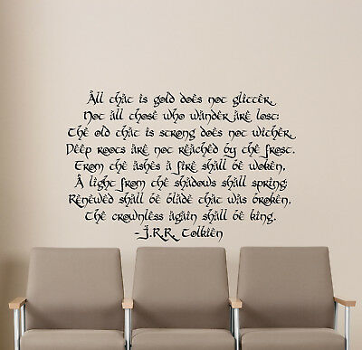 Tolkien Quote Wall Decal Lord Of The Rings Gift Vinyl Sticker Poster Decor 27v