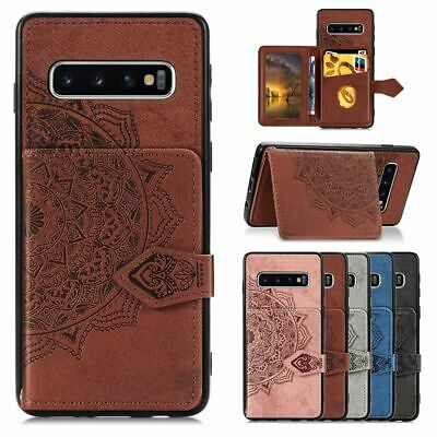 Samsung Galaxy S10 S9 S8 Plus S7 Card Wallet Back Case Car Magnetic Holder Cover