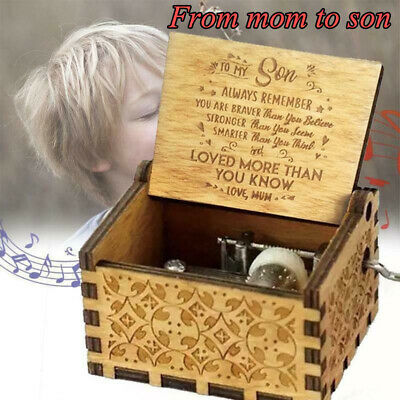Music Box Handmade Wooden Engraved Music Box Gifts for Mom/Dad/Daughter/Son UK