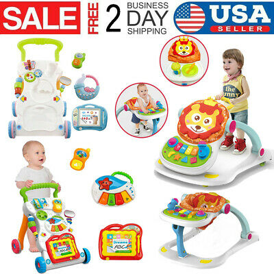 Sit-to-stand Baby Walker Stroller Toddler Hand Trolley Activity Learning Toy Set