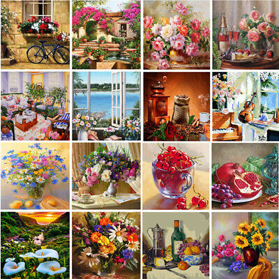 DIY Flowers Paint By Number Kit Acrylic Hand-painted Oil Painting Art Home Decor