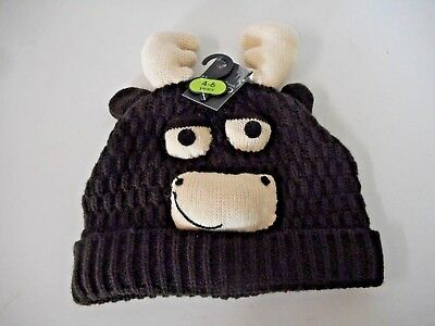 Childs Boys Girls Brown 3D Fun Animal Knitted Reindeer Hat Age 4 - 6 Years BNWT