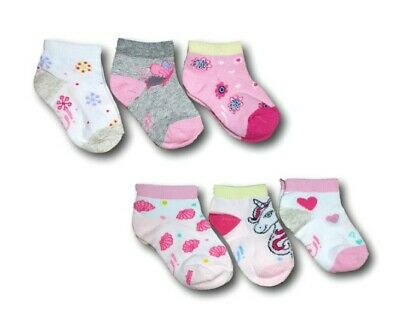 Baby Toddler Girls Cotton Ankle Trainer Summer Socks 3 Pairs Multi Buy 12M-3Y