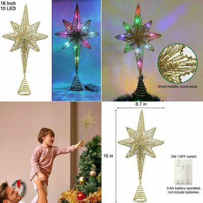 Christmas Tree Topper Lighted Vintage Star Treetop Battery Operated with 10 LED-