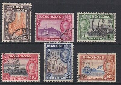 Hong Kong GVI 1941 British occupation centenary complete set sg163-168 used
