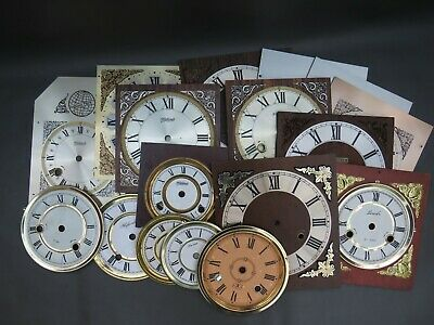 Job lot of 17 vintage & modern clock dials faces - parts spares