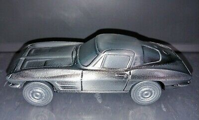 Vintage 1963 Chevy CORVETTE Banthrico Metal Auto Coin Bank with Original Box