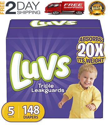 Diapers size 5 Luvs Ultra Leakguards Disposable 148 counts Baby Diapers size 5