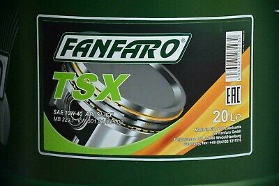 Fanfaro TSX 20LTR Semi-Synthetic Engine Oil 10W-40 501.01/505.00 SL/CF MB229.1