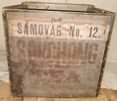 Antique Vintage Old Chinese Wooden Wood Souchong Tea Crate Box