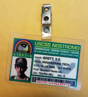 Aliens ID Badge-USCSS Nostromo Warrant Ripley Officer prop costume cosplay