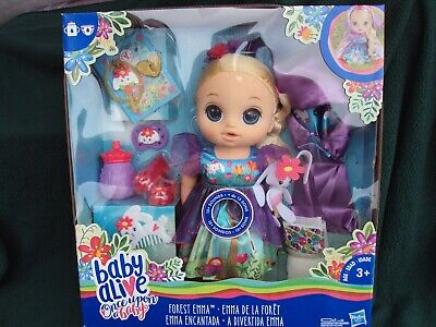 New Baby Alive Once Upon a Baby - Forest Emma Doll , Blonde Hair , Blue Eyes ,