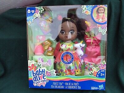 New Baby Alive Once Upon a Baby - Forest Mia, African American Doll, Black Hair,