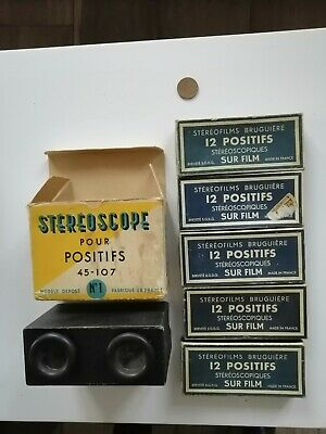 Stereoscope Bruguiere + Set 5 Boxes Stéréofilms