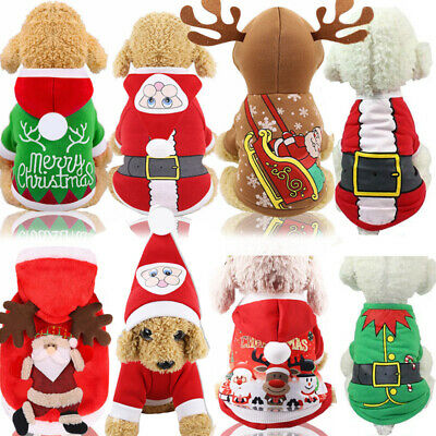 Christmas Pet Dog Santa Sweater Puppy Shirt Clothes Cute Pullover Hoodie Costume