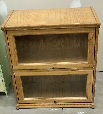 """Vintage Two Section Wood Stacking Barrister Lawyers Bookcase 28"""" x 24"""""""