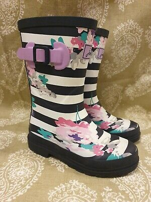 Girls Joules Wellington Boots Size 12 .Floral Navy Blue Striped Wellies Buckle