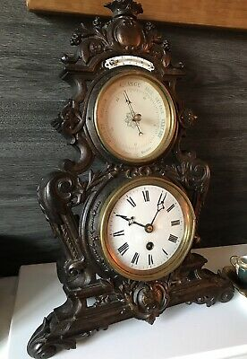 Japy Frères French Cast Iron Easel Clock With Thermometer & Barometer