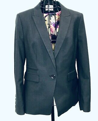 MARKS AND SPENCER Black Wool Suit Jacket Trousers Floral Lining 14 Office Work
