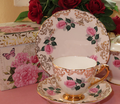 Pink Rose gold Tea Cup Saucer Plate Trios Roslyn Fine Bone China England  ~ EUC!