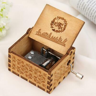 Retro Wooden Hand Cranked Music Box Home Crafts Ornaments Children Gifts NIGH
