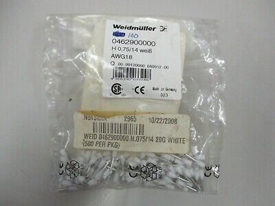 Weidmuller 100pc Wire End Ferrell 0462900000 H0.75/14 AWG18 White