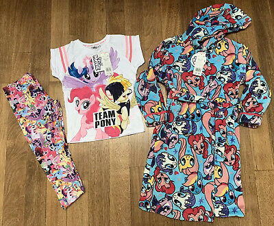 Tesco Girl's My Little Pony Pjs & Matching Dress Gown. Age 7-8 Years. BNWT