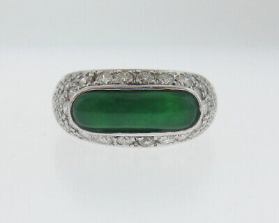 GIA Certified Natural Grade A Jadeite & Omphacite Jade Diamonds 18k White Gold