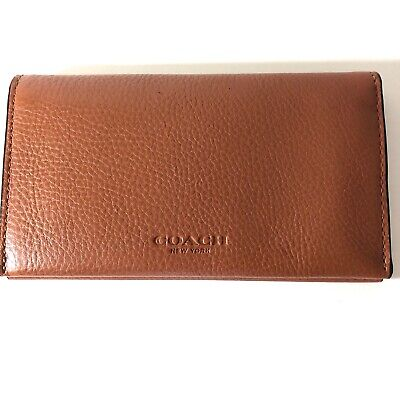COACH F63646 Phone Case/Wallet Sport Calf Leather Saddle Brown