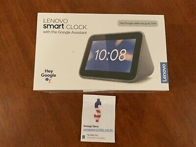 Lenovo - Smart Clock with Google Assistant - Gray Touchscreen NEW