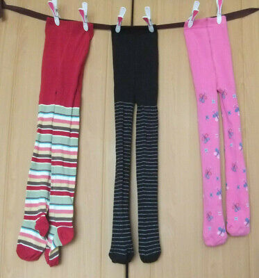 3 Pairs NEW unused girls cosy tights Age 7 - 8 years VGC freshly washed