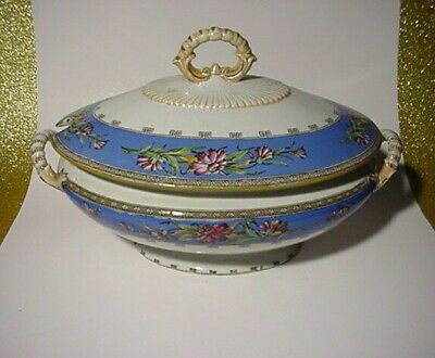 Antique Soup Tureen Hand Painted Flowers Made England