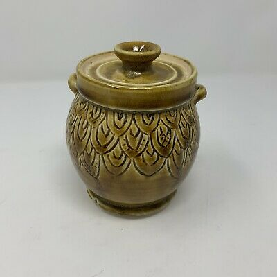 ART POTTERY JAR WITH LID SIGNED Chris Thomas CT stamp Yellow ochre Color
