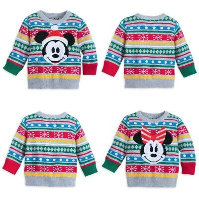Disney Store Baby Mickey Minnie Mouse Holiday Christmas Sweater Top Boy Girl NEW