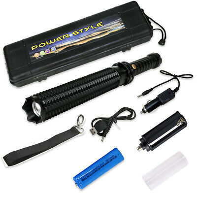 6000lm Tactical Long Baseball Bat LED Flashlight Torch Self Defense Patrol Black