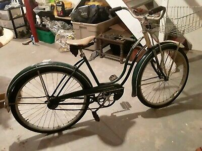 1952 shwinn classic bicycle green, basket,